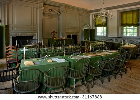 Historic Independence Hall in Philadelphia Pennsylvania as home of the July fourth 1776 signature of the United States Declaration of Independence by the American congress - stock photo