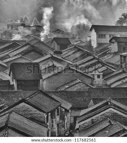 historic interest in china guangxi yangshuo huangyao - stock photo