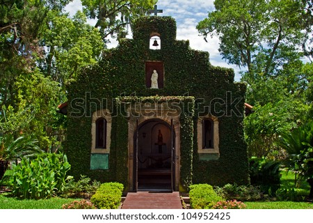 Historic ivy covered church located in St Augustine Florida - stock photo