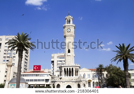 Historic Izmir Clock Tower and Konak square in front of Izmir governer building - stock photo