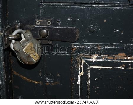 historic jail cell door lock and shackle Kilmainham Jail Dublin Ireland Europe - stock photo
