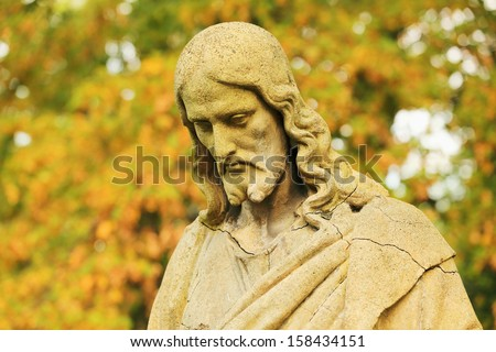 Historic Jesus on the old Prague Cemetery, Czech Republic - stock photo