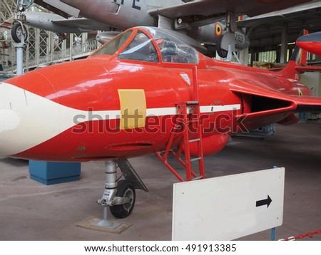 historic jet fighter airplane on display at The Royal Museum of the Armed Forces and Military History in Cinquantenaire Park in Brussels, Belgium, Europe