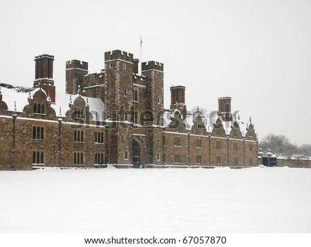Historic Knole House in Sevenoaks on a snowy winters day. - stock photo