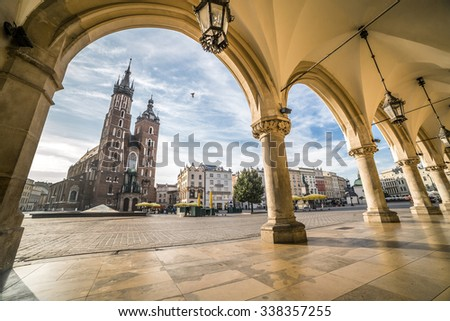 Historic Krakow Market Square in the Morning, Poland - stock photo