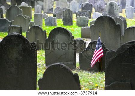 Historic landmark cemetery Granary Burying Ground, founded in 1660, in  Boston, Massachusetts - stock photo