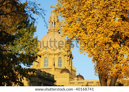Historic legislature building and downtown buildings at sunset, city edmonton, alberta, canada - stock photo