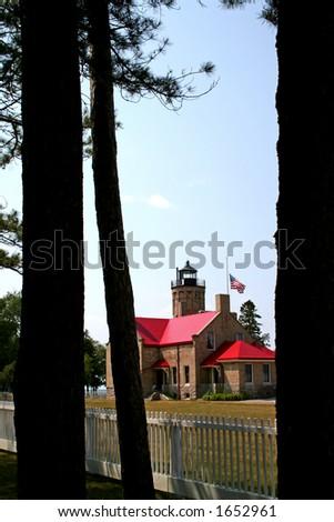 Historic Light house in Mackinac - stock photo