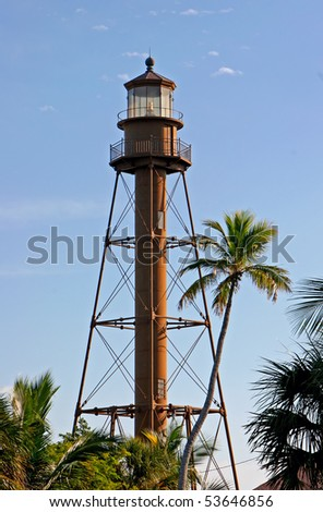 Historic Lighthouse At Midday Sanibel Island Florida - stock photo