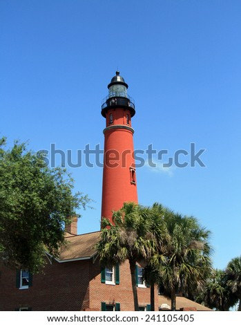Historic Lighthouse, located in central Florida, near Port Orange and Daytona Beach - stock photo