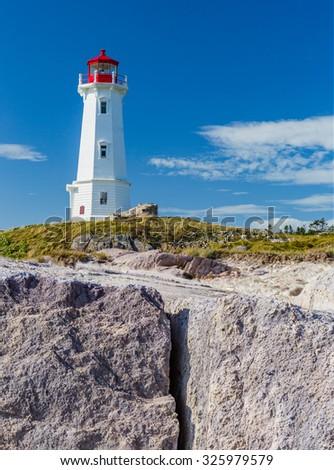 Historic lighthouse of Sydney, Nova Scotia - stock photo