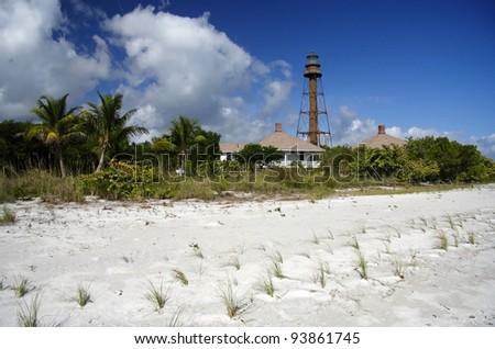 Historic Lighthouse on Sanibel Island, South Florida - stock photo