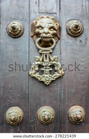 Historic lion shaped door knocker in Lima, Peru