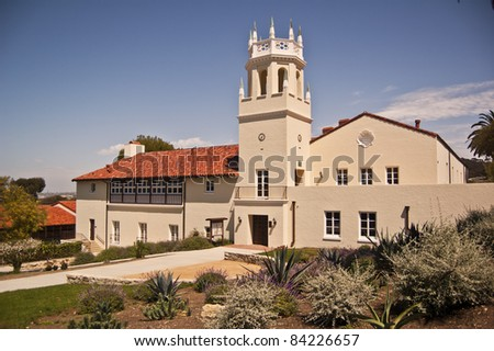 Historic Malaga School at Palos Verdes in Southern California- the first public school in the area- now also house the school district offices - stock photo
