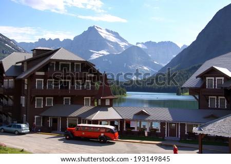 Historic Many Glaciers resort in Glacier national park - stock photo