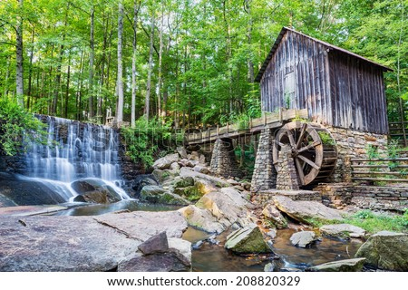 Historic mill and waterfall in Marietta, Georgia - stock photo