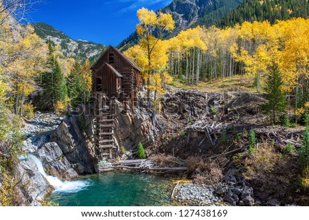 Historic mill in autumn, Crystal Ghost Town, Colorado - stock photo