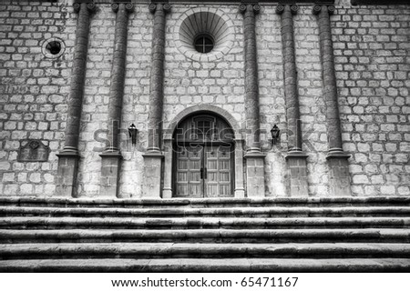 Historic Mission Santa Barbara in Black & White - stock photo