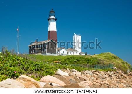 Historic Montauk Lighthouse, Long Island New York - stock photo