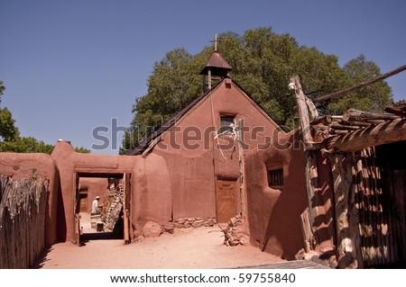 Historic New Mexican Colonial Village- Rancho de Golondrinas,a living history museum in Santa Fe, New Mexico - stock photo
