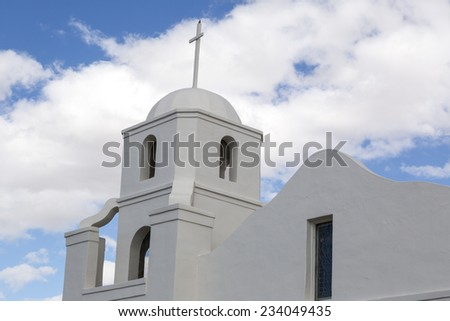 Historic Old Adobe Mission in Old Town Scottsdale, Arizona. - stock photo