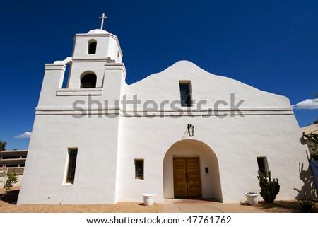 Historic Old Adobe Mission in Old Town Scottsdlae, Arizona - stock photo