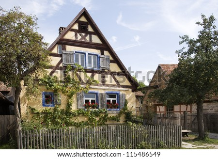 historic old timber framed farmhouse in germany