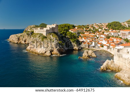 Historic Old Town and Fortress of Dubrovnik, Croatia on the Adriatic Sea - stock photo
