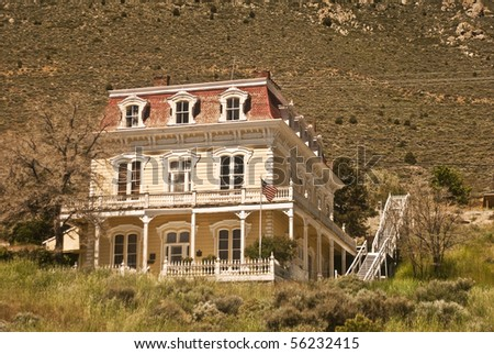 Historic Old West Victorian from Virginia City, Nevada - stock photo