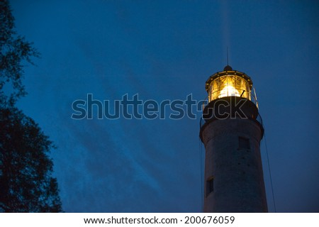 Historic Pensacola, Florida lighthouse. Established in 1824, it is the tallest and oldest lighthouse site on the Gulf Coast. Still in use after more than 150 years. - stock photo