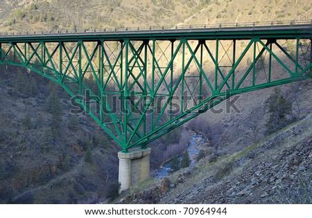 Historic Pioneer Bridge over the Shasta River - stock photo