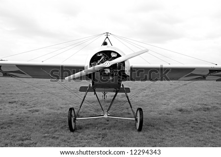 Historic plane Fokker in airport Plasy - Czech Republic Europe - stock photo