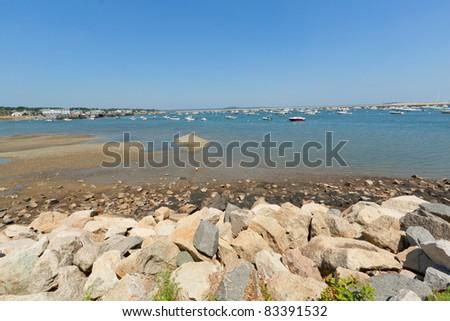 Historic Plymouth Harbor and marina at the low tide, Massachusetts, USA. - stock photo
