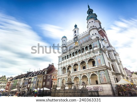 Historic Poznan City Hall located in the middle of a main square - stock photo