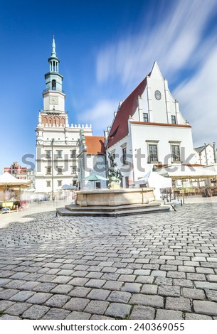 Historic Poznan City Hall located in the middle of a main square, Poland - stock photo
