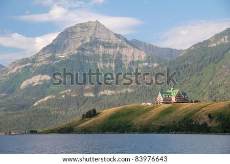 Historic Prince of Wales Hotel - Waterton Lakes National Park, Alberta, Canada - stock photo