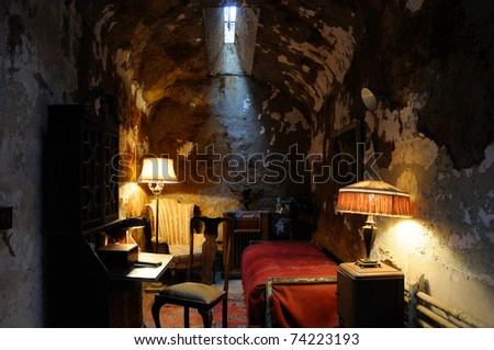 Historic Prison Cell of Al Capone in Philadelpha's Eastern State Prison - stock photo
