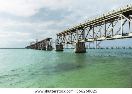 Historic railroad bridge at Bahia Honda State Park in the Florida. - stock photo