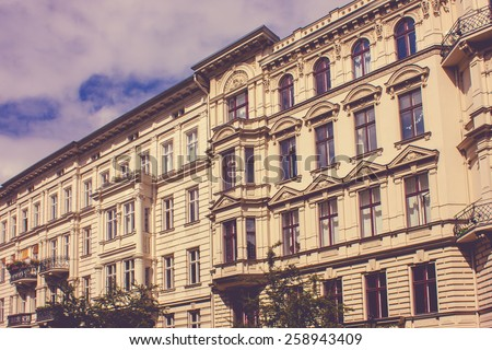 Historic Residential House in Berlin, Germany with a retro vintage instagram filter effect - stock photo
