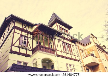 Historic Residential Houses with a retro vintage instagram filter effect - stock photo