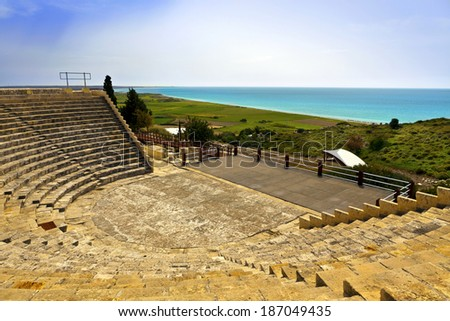 Historic Roman theatre of Kourion on the island of Cyprus. - stock photo