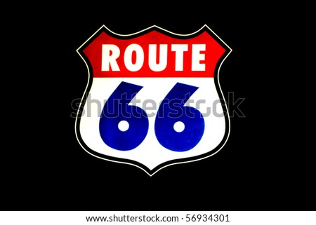 Historic Route 66 neon light sign on black background