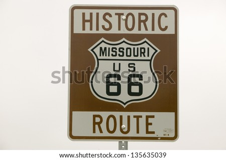 Historic Route 66 road sign in Missouri along Route 44, Crawford County, Missouri - stock photo