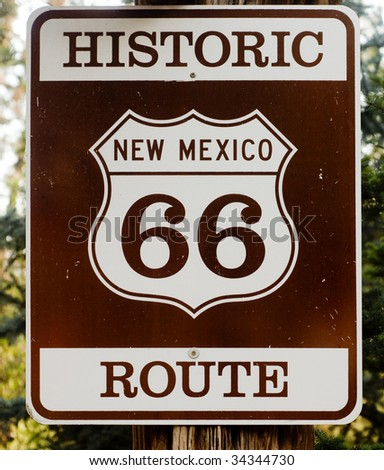 Historic route 66 route marker sign in New Mexico - stock photo
