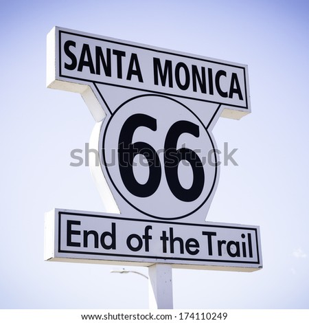 Historic Route 66 sign at Santa Monica California - stock photo