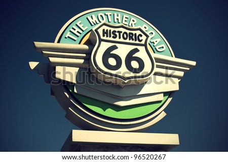 Historic Route 66 sign in the state of California, USA, Historisches Route 66 Schild im Bundesstaat Kalifornien, USA - stock photo