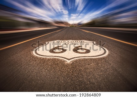 Historic Route 66 sign on road  - stock photo