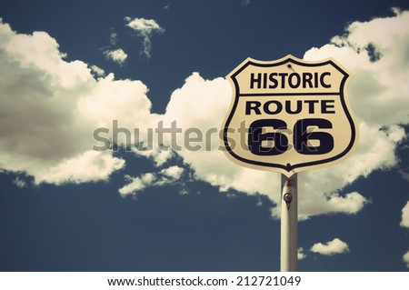historic Route 66 sign, vintage style, Arizona, USA - stock photo