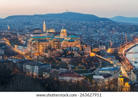 Historic Royal Palace - Buda Castle on night in light in Budapest, Hungary - stock photo