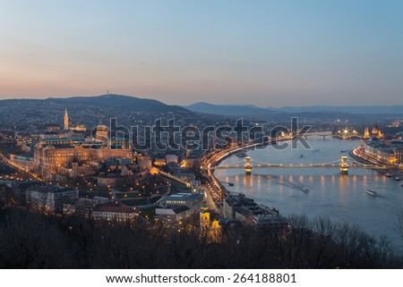 Historic Royal Palace - Buda Castle on night in light, the background Chain Bridge  in Budapest, Hungary - stock photo